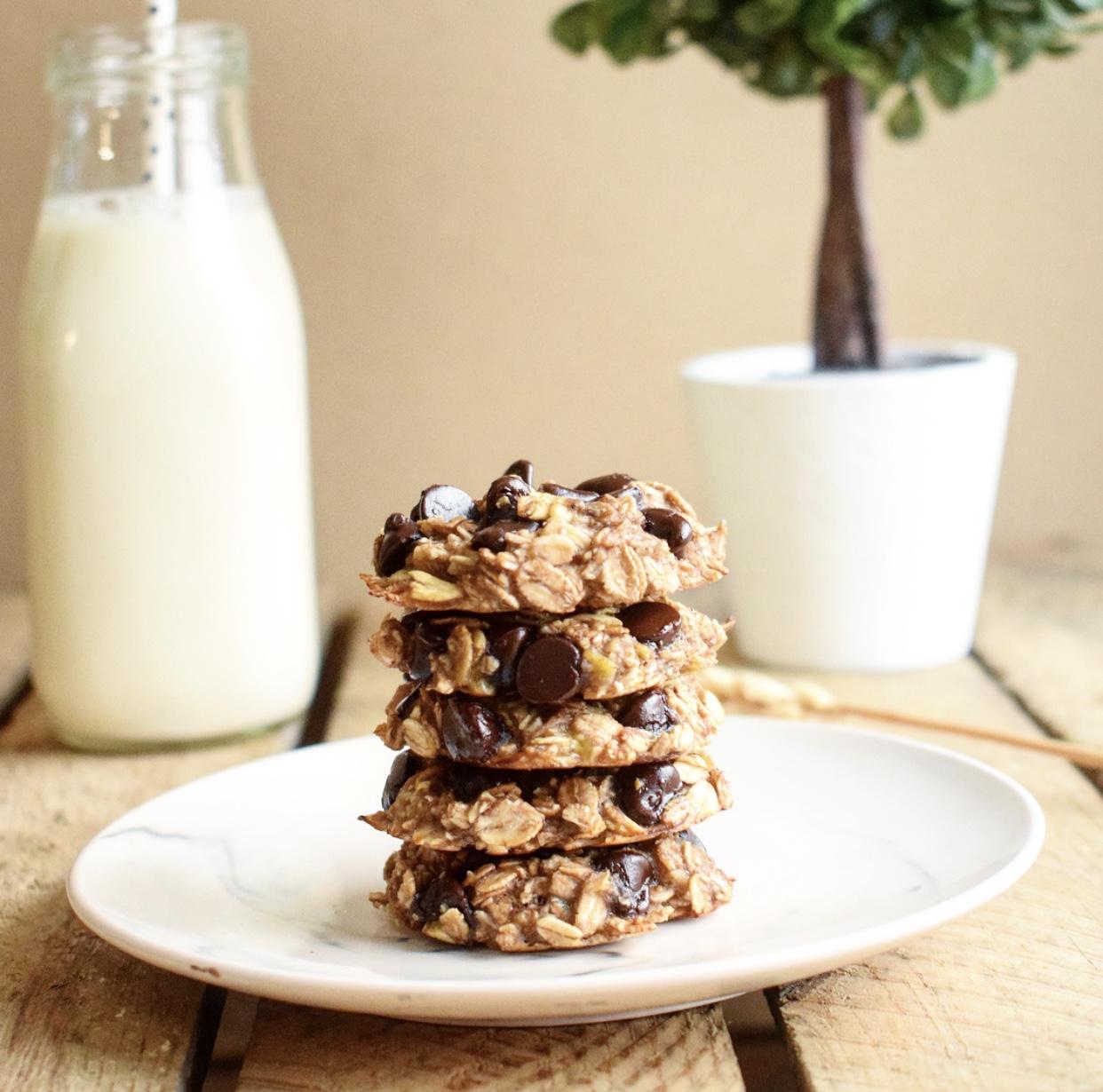 Cookies aux flocons d'avoine, à la banane et aux pepites de chocolat