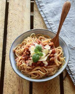 Spaghettis à la bolognaise végétale