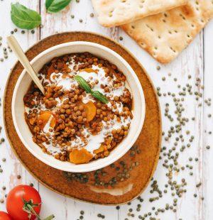 Lentilles à la tomate & lait de coco