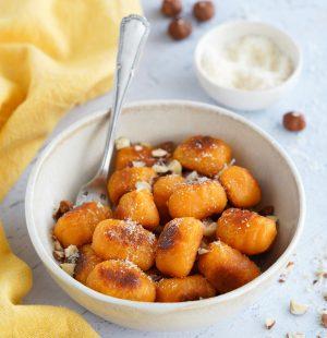 Gnocchis à la patate douce, parmesan et noisette