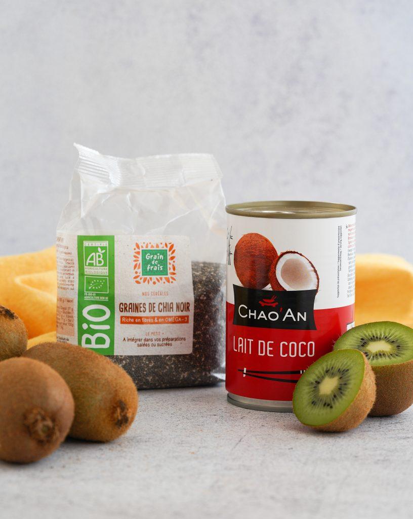 """Recette de """"Scones au lait de coco & confiture cru de kiwi"""" grand frais"""